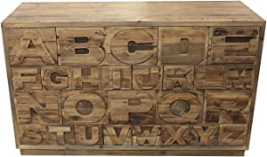 Meubletmoi - Cassettiera Alfabeto 26 cassetti in Pino Massiccio Riciclato, Stile Industriale