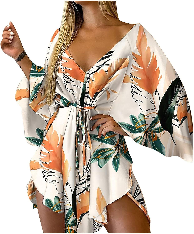 Summer Dresses for Women Casual Mini Dress V Neck Sundress Flower Print Skirt Short Sleeve Cocktail Dress with Belt
