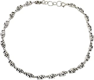 NOVICA .925 Sterling Silver Animal Lover Handmade Link Anklet, 9.75