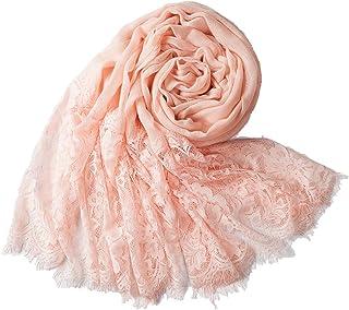 LadyMYP ZF 90cmX190cm Einfarbiger Schal Stola aus Baumwolle und hochwertiger Spitze, mehrere Farben zur Wahl