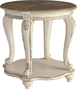 Signature Design by Ashley - Realyn Round End Table, White/Brown Wood