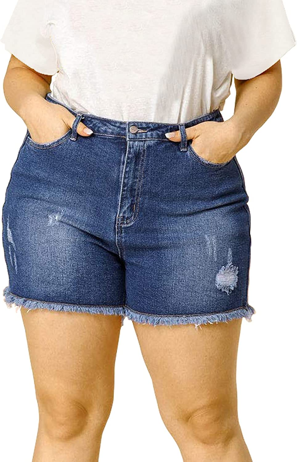 Tulucky Plus Size Denim Shorts Women Sexy High Waist Distressed Ripped Jean Shorts