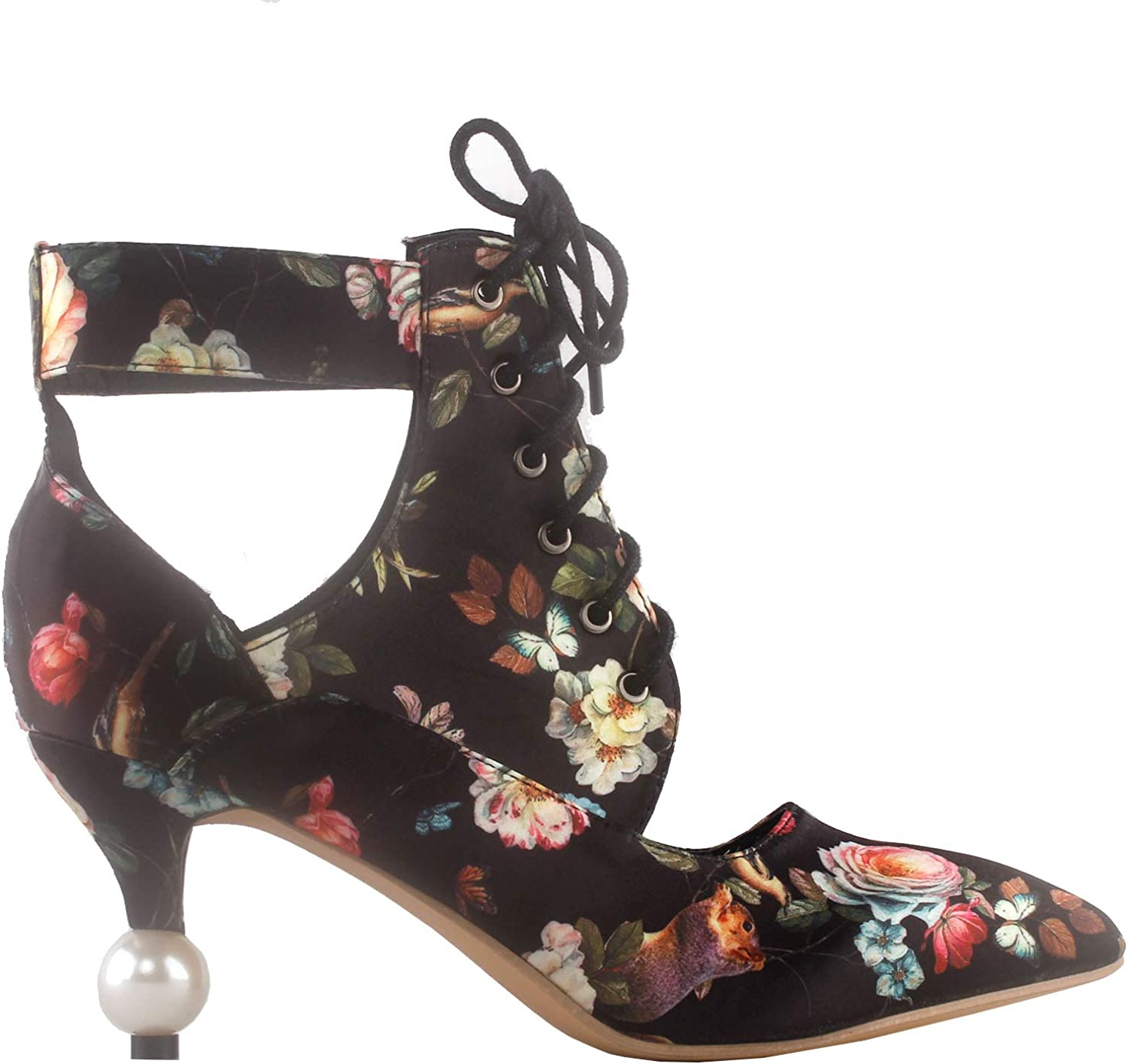 Show Story Retro Floral Lace-Up Cut-Out Pointed Toe Exquisite Pearl Heel Dress Ankle Bootie,LF60424