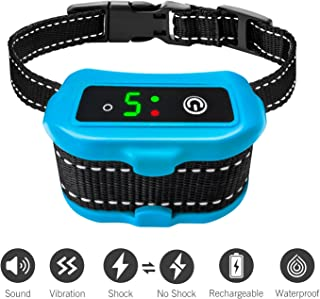 Casfuy Bark Collar IP67 Waterproof Rechargeable - [2018 Upgraded] Dog No Barking Collar with Smart Detected Chip for Small Medium Large Dogs