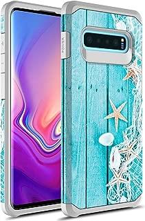 Samsung Galaxy S10 Case, Rosebono Slim Hybrid Dual Layer Shockproof Hard Cover Graphic Fashion Cute Colorful Silicone Skin Cover Armor Case for Samsung Galaxy S10 (Starfish)