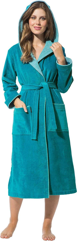 Morgenstern Bademantel für Damen aus Baumwolle mit Kapuze Petrol
