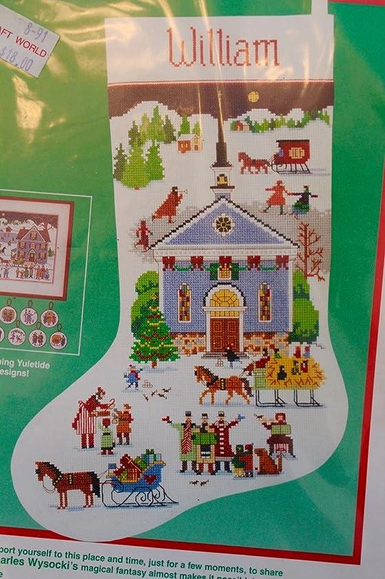 Dimensions Christmas Yuletide Village Cross Stitch Stocking Kit 8402