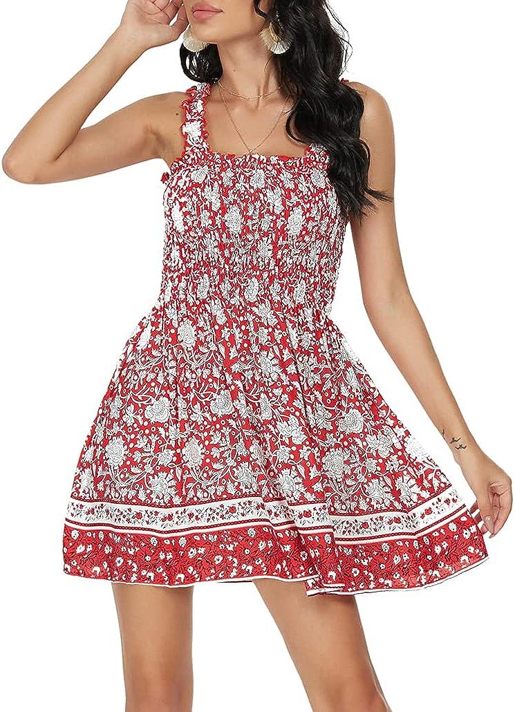 Pasidvy Women Summer Tie Shoulder Dress Smocked Ruffle Tube Top A Line Beach Mini Dress 05