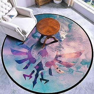 Round Area Rug Kids Carpet Playmat Non-Slip Throw Runner Rug Watercolored Hylian Crest Indoor Floor Carpet Door Mat for Bedroom Living Room Home Decor