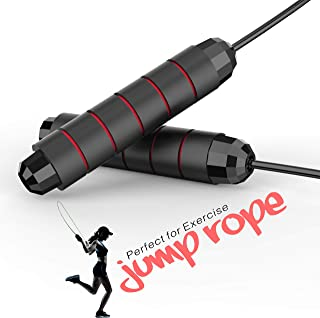 CREATESTAR Jump Rope, Tangle-Free with Ball Bearing - Professional Adjustable & Self-Locking Steel Wire Skipping Ropes, Id...