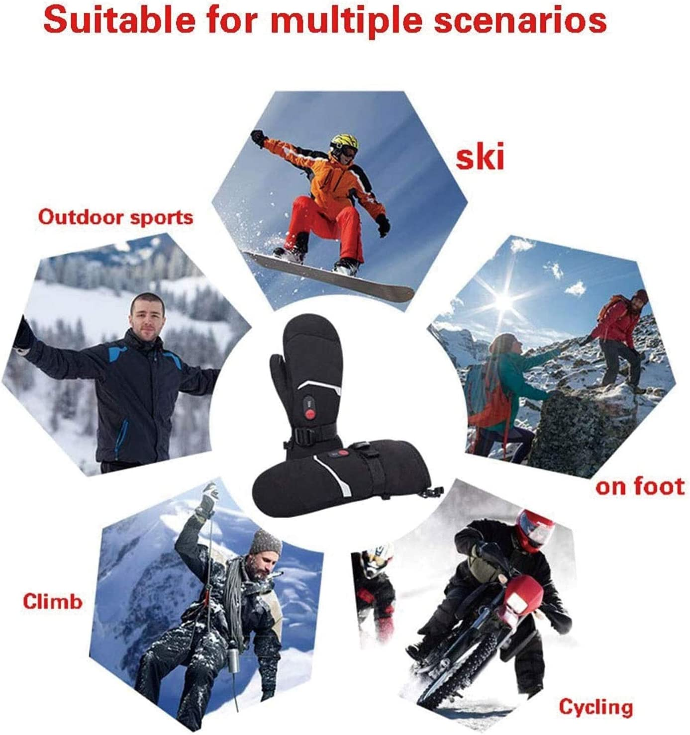 Heated Gloves Mittens Ski Gloves 7.4V 2200Mah Electric Rechargeable Battery for Men Women,Winter Outdoor Sports Snow Skiing Ice Skating Electric Hand Warmers Glove Mittens for Arthritis Hand
