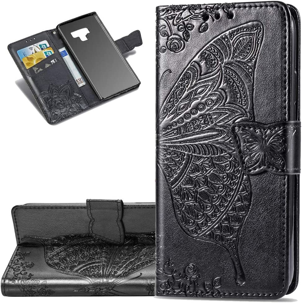 LEECOCO Samsung Note 9 Case Premium PU Leather Flip Wallet Case Butterfly Embossed Full Body Protection Flip Stand Card Holder Magnetic Cover for Samsung Galaxy Note 9 Big Butterfly Black SD
