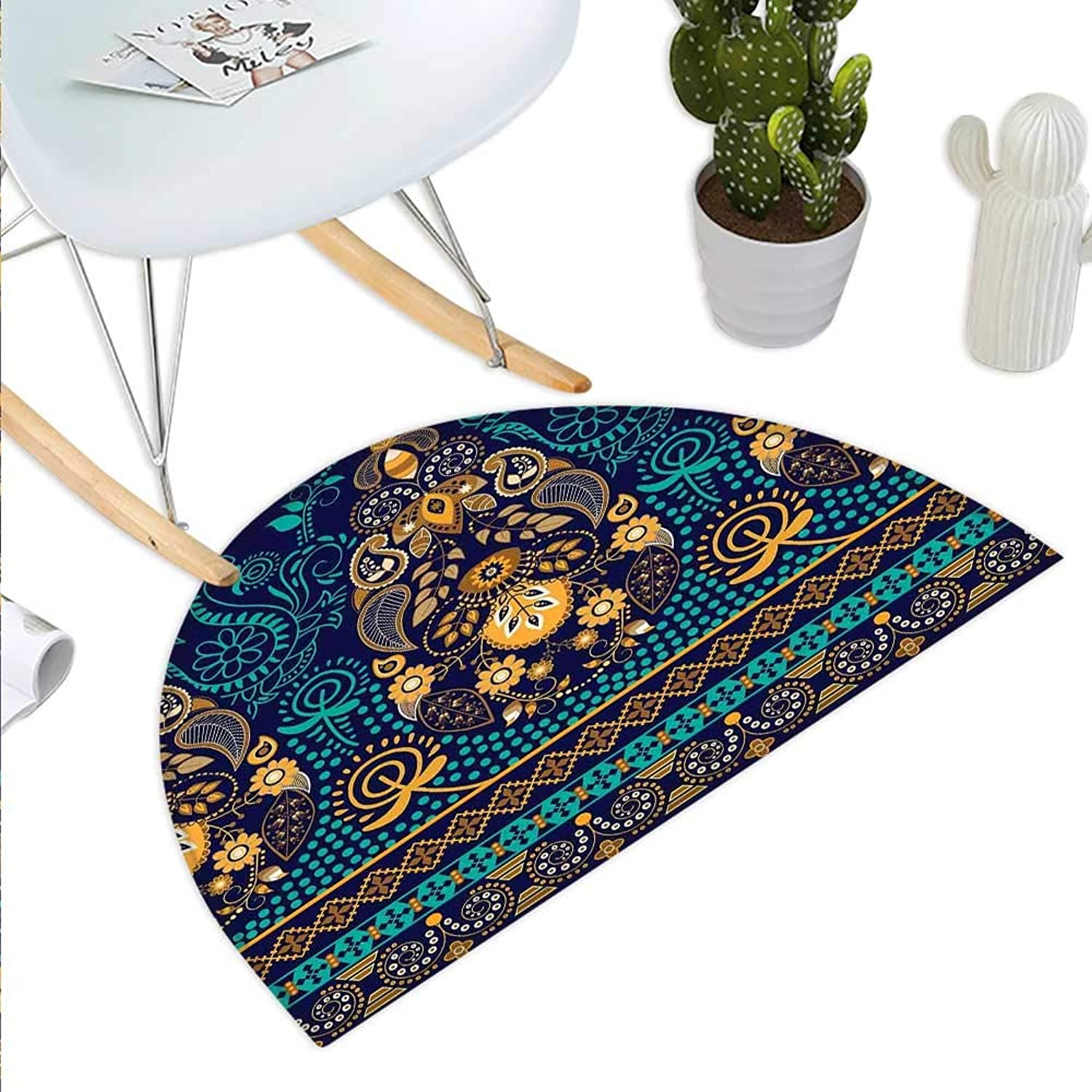 Paisley Semicircle Doormat Ethnic Backgrounded Design with The Pattern of Flower Leaves and Dots Image Halfmoon doormats H 43.3  xD 64.9  bluee and gold