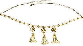 Accessorisingg Traditional Gold Plated Pearl Kamarbandh/Waistbelt with Kundan Tassels for Women [TWB010]