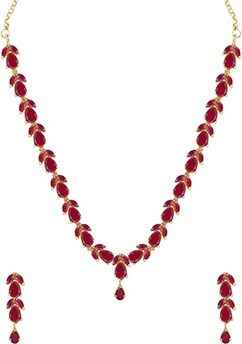 Zaveri Pearls Delicate Ruby Necklace Set For Women - ZPFK6110