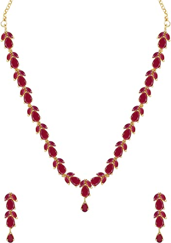 Delicate Ruby Necklace Set for Women ZPFK6110