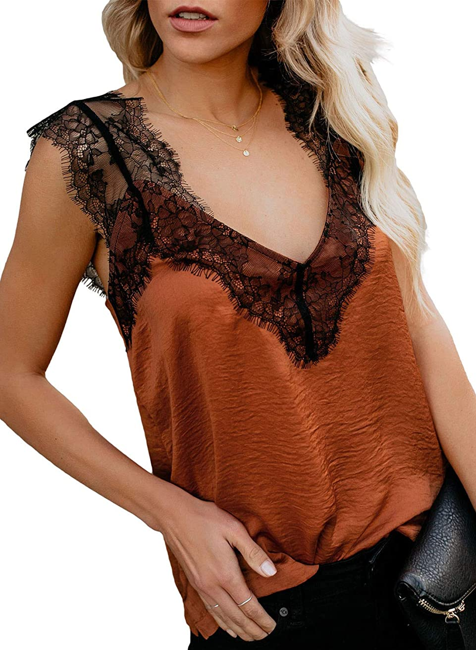 CANIKAT Women's V Neck Lace Strappy Cami Tank Tops Casual Loose Sleeveless Blouse Shirts