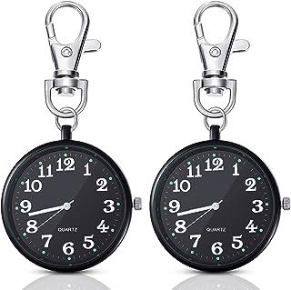 2 Pieces Black Quartz Pocket Watch with Key Buckle Round Pocket Watch Keychain Watch Portable Unisex Watch for Kids Men Nu...