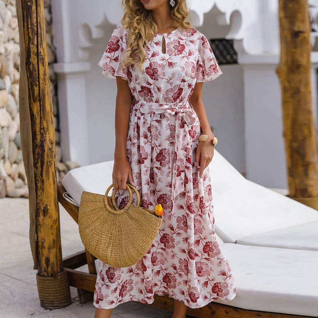 SALUCIA Damen Blumen Maxi Kleid, Sommer Frauen Elegant Bodycon ...