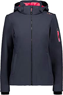 CMP Women's Softshell Jacket windfree and Waterproof, Antracite-Red Fluo, 16