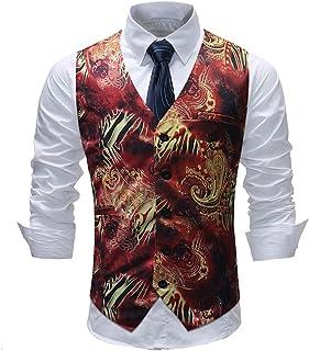 Allthemen Men's Suit Waistcoat Paisley Jacquard Waistcoats Slim Fit Tuxedo Formal Wedding V-Neck Tuxedo Suit Vests