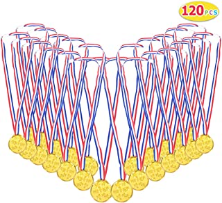 Max Fun 120 pcs Gold Plastic Winner Award Medals for Kids Children's Party Favors