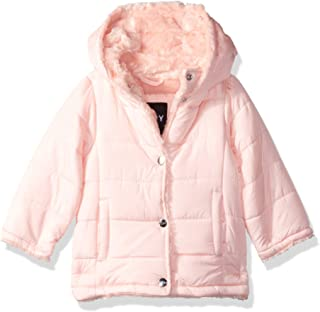 DKNY Baby Girls Nylon Faux Fur Jacket