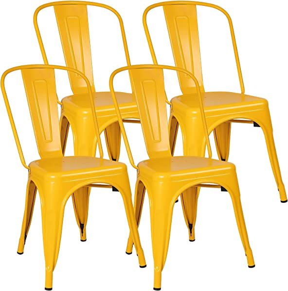 Furniwell Metal Dining Chairs Indoor Outdoor Use Stackable Kitchen Chair Trattoria Side Chic Dining Bistro Cafe Chairs With Back Set Of 4 Yellow