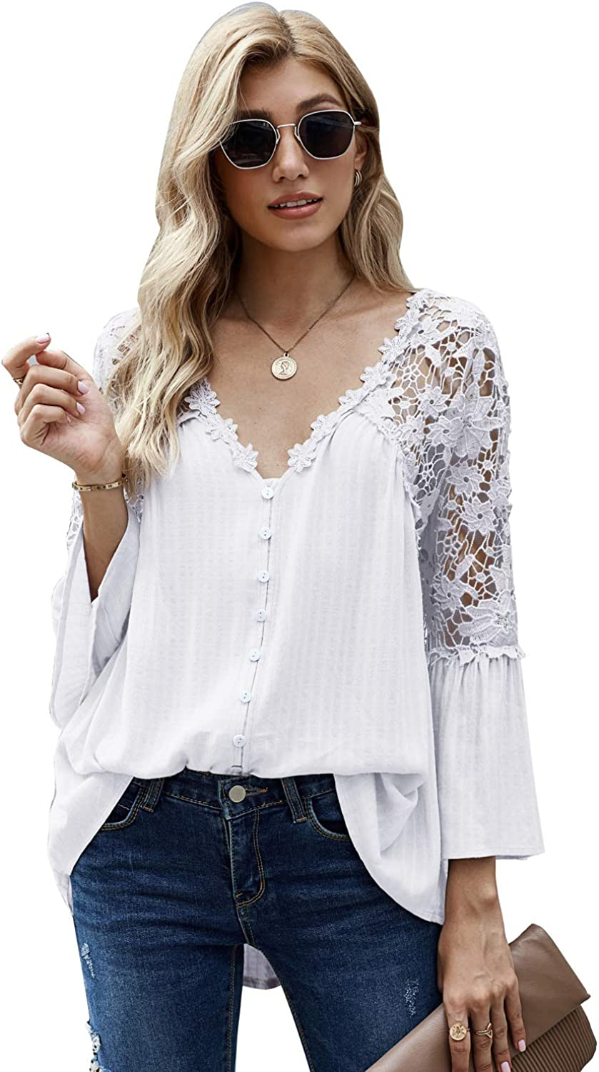 Womens Lace Crochet Button Down Shirts V Neck Bell Sleeve Tunic Tops Casual Loose Flowy Hollow Out Blouses