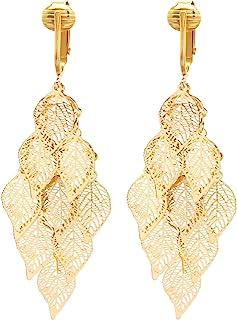 Aloha Earrings Beautiful Dangle Clip On Earrings for Women, Bohemian Drop Butterfly, Dragonfly, Leaves, Flowers