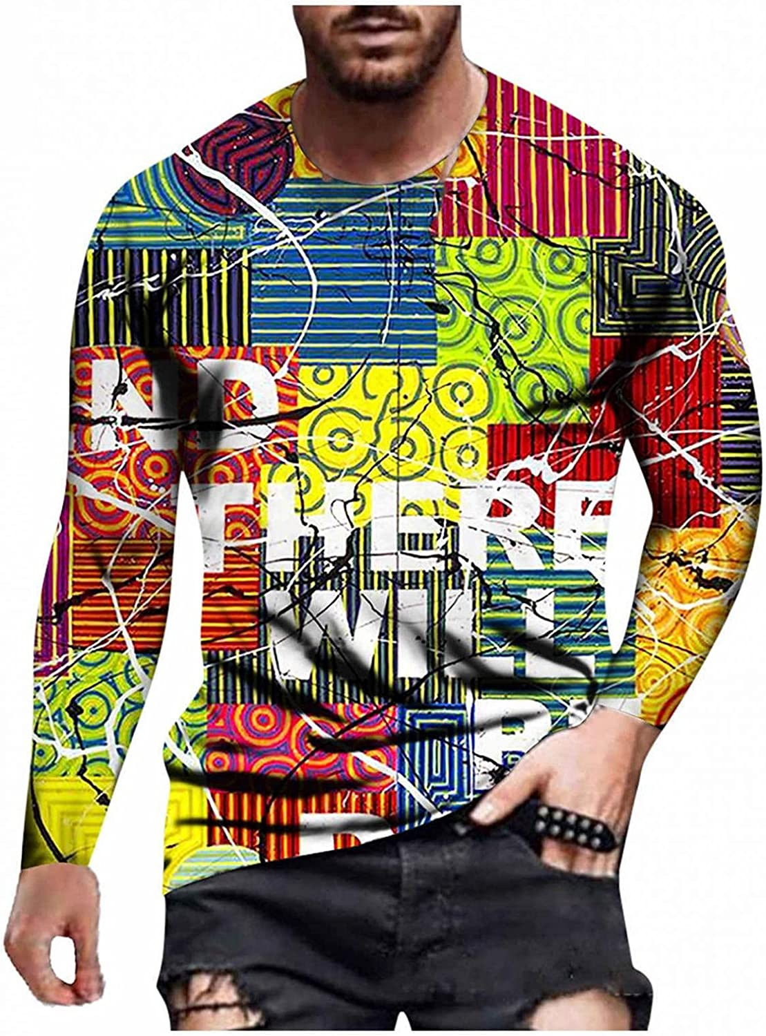 Aayomet Mens Casual T-Shirts Autumn Long Sleeve Lightweight Bodybuilding 3D Printed Pattern O-Neck Tops
