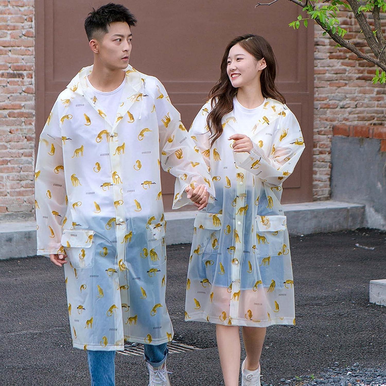 FHGH Reusable Couples Long Raincoat, 2PCS EVA Printed Rain Ponchos, Non-Disposable Rain Jackets, for Men/Women/Youth,A,XLarge