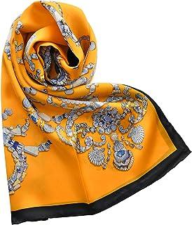 黄色贝壳链条真丝大方巾女春秋桑蚕丝丝ぷ缎面丝绸围形成披山
