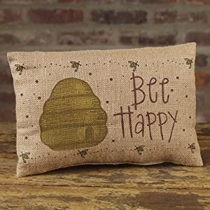 The Country House Collection Bee Happy Beehive 12 x 8 Burlap Decorative Throw Pillow