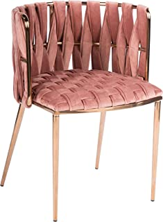 Statements by J 1538DC-ROSE Milano Dining Chair, 29.5 Inch Tall, Rose, Gold