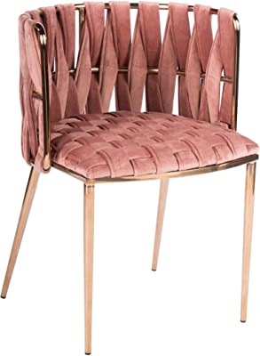Statements by J 1538DC-ROSE Milano Dining Chair, Rose, 29.5 Inch Tall, Gold