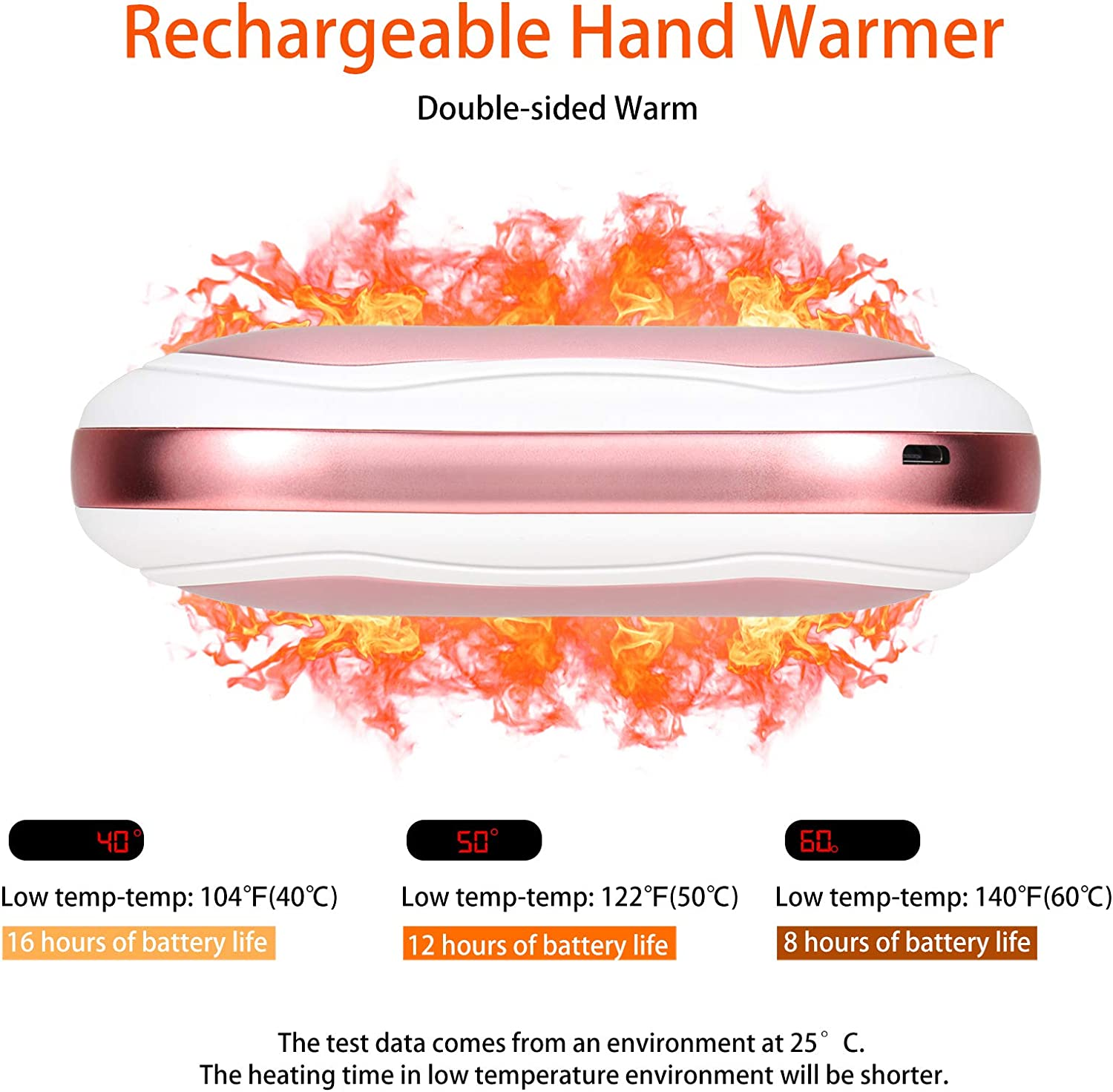 Ideal Winter Gift Reusable Hand Heater BTOYM Hand Warmers Rechargeable 10000mAh Pocket Electric Hand Warmer with 3 Levels Heating Portable Power Bank USB Powered