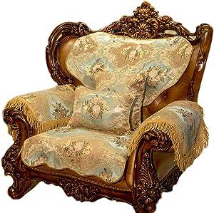 HInmdLndsj Ninguna contracción de algodón Fundas de sofá,Toalla de sofá Cubre para el Protector de cojín de salón Cuatro Estaciones sofá Antideslizante Universal-Azul 85x210cm(33x83inch)