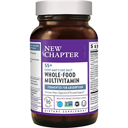 New Chapter Multivitamin for Men 50 Plus + Immune Support Every Man's One Daily 55+ with Fermented Probiotics + Whole Foods + Astaxanthin + Organic Non GMO Ingredients, 96 Count