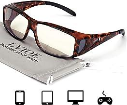 LVIOE Fit Over Blue Light Blocking Glasses and Computer Eyewear - Wear Over Your Prescription Glasses/Reading Glasses/RX Glasses (Tortoise Frame Anti Blue Light Glasses)