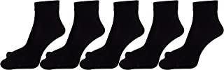 RC. ROYAL CLASS Women's Ankle Length Black Solid Cotton Thumb Socks (Pack of 5 pairs)