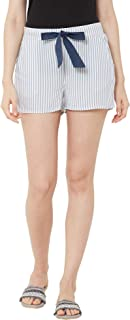 Mystere Paris Classic Striped Lounge Shorts Rayon Loungewear Casualwear White Grey F482F