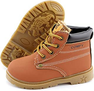 Toddler Kids Hiking Boots Boys Girls Non Slip Rubber Sole Martin Ankle Toddler Snow Boots Waterproof Synthetic Leather Out...