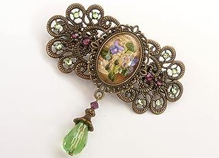 Fermaglio per capelli con viole del pensiero in verde, viola, bronzo