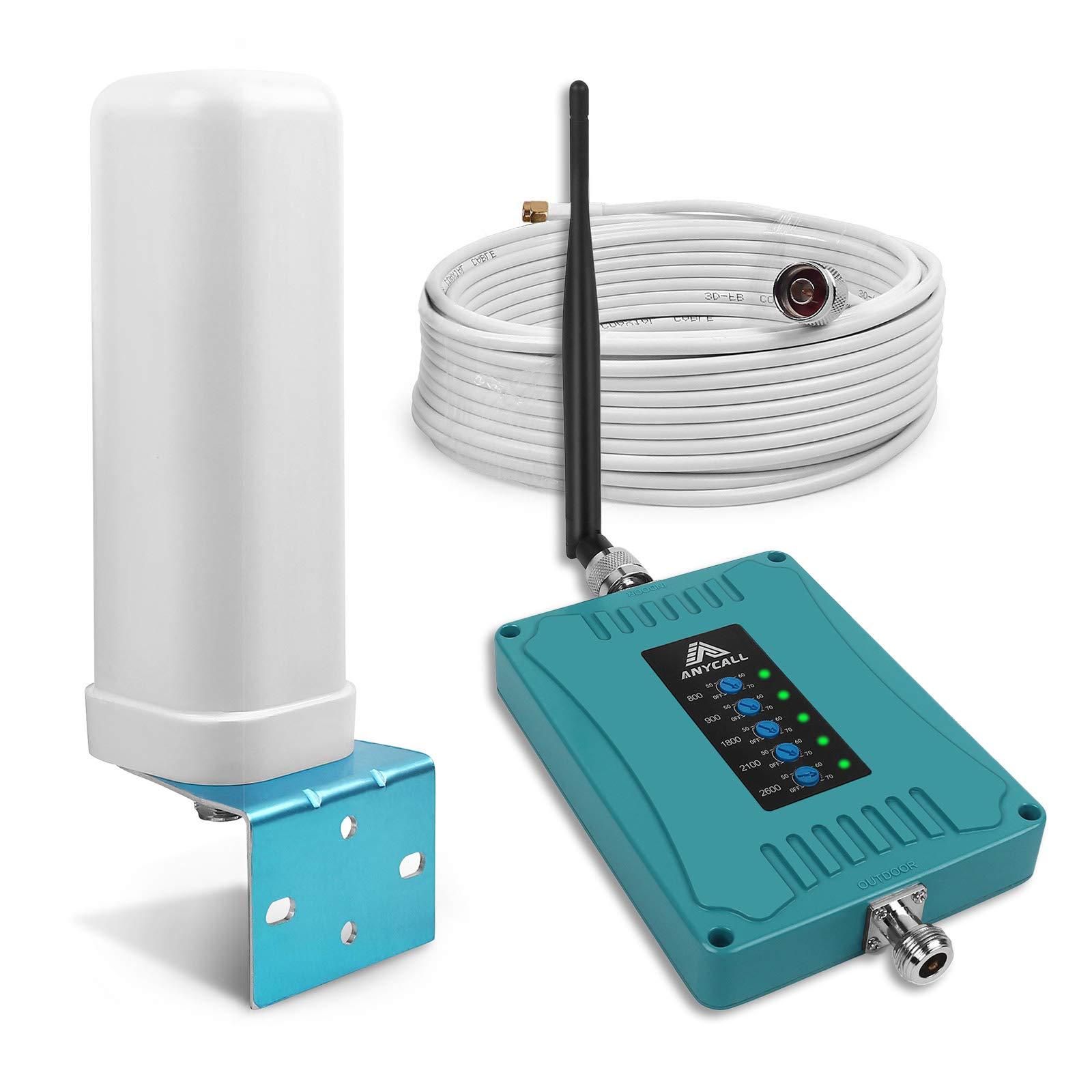 ANYCALL Amplificador Señal Móvil 2G 3G 4G 5-Banda Mejora la Cobertura de Llamadas y Datos 4G Repetidor gsm 4G para Movistar/Orange/Yoigo/Vodafone para Casa/Oficina: Amazon.es: Electrónica