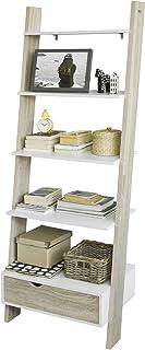 SoBuy FRG112-WN Bibliothèque Étagère de Rangement Étagère Style Échelle avec 4 Étages et 1 Tiroir – L65xP40xH176cm