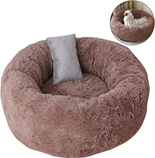 TINTON LIFE Luxury Plush Pet Bed with Pillow for Cats Small Dogs Round Donut Cuddler Oval Cozy Self-Warming Cat Bed for Im...