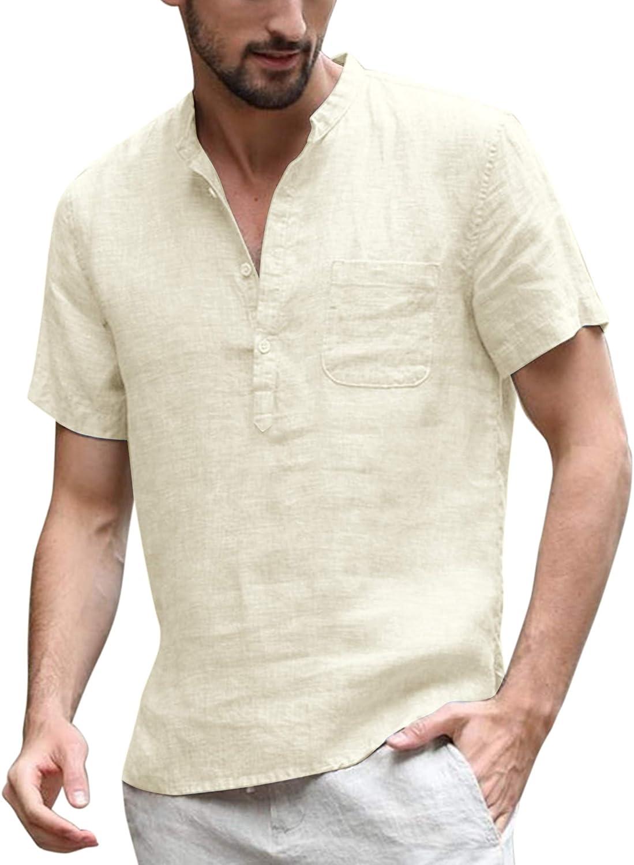 COOFANDY Men's Cotton Linen Ranking TOP3 Henley Hippie Sleeve OFFicial Shirt Short Cas