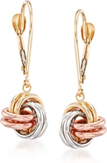 14kt Tri-Colored Gold Love Knot Drop Earrings