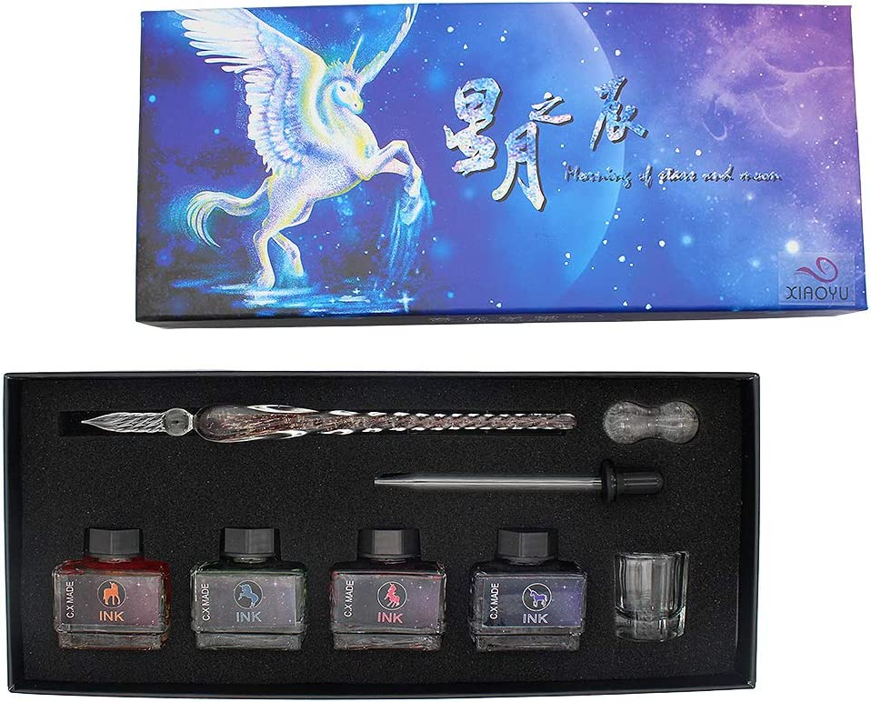 Max 52% Max 47% OFF OFF XIAOYU Luminous Glass Dip Pen Crystal Set Handmade Signat